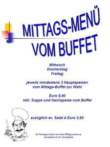 Mittagsmenü vom Buffet