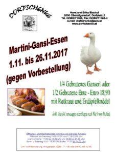 Martini-Ganserl vom 1.11. bis 26.11.2017